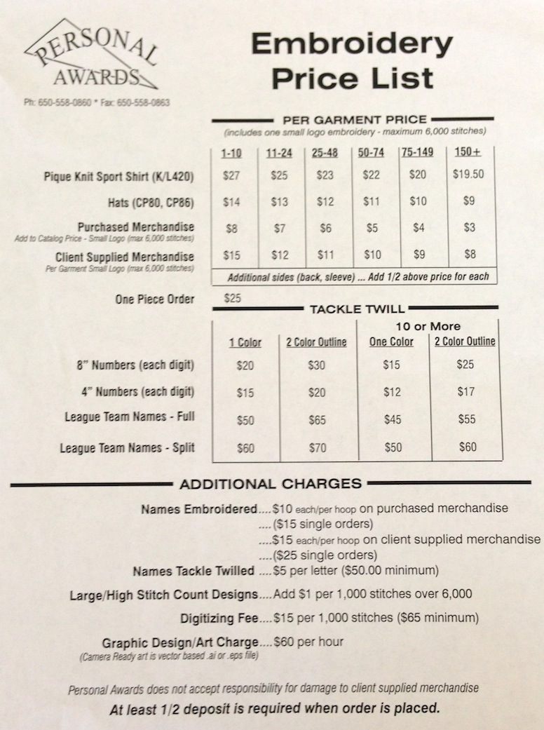 Embroidery Price List Personal Awards