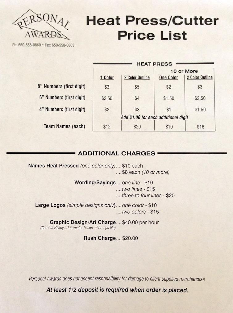 Heat Press Price List Personal Awards